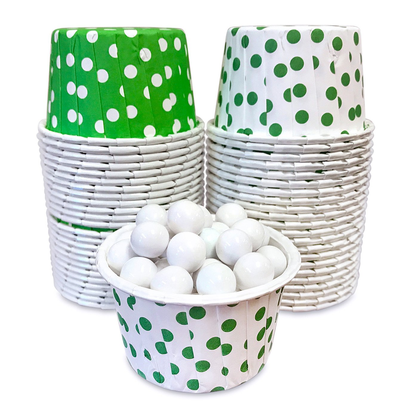 Candy Nut Mini Baking Paper Treat Cups - Green and White Dot - 2 x 1.5