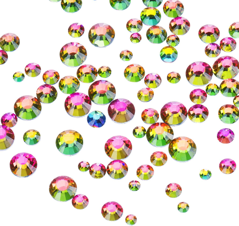 1000 Piezas Multi AB Color Diamantes de Flatback Espalda Plana Gemas de Cristal Redondos 2 mm - 5 mm, 5 Tamaños