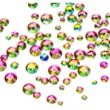 Outus 1000 Pieces Multi AB Color Flat Back Rhinestones Round Crystal Gems 2 mm - 5 mm, 5 Sizes