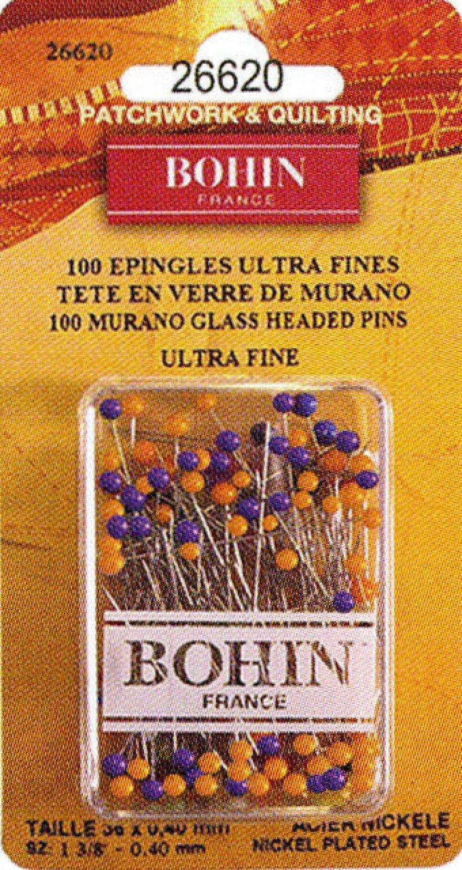 Bohin Ultra Fine Murano Glass Head Pins 1 3/8 x .40 mm Pkg of 100