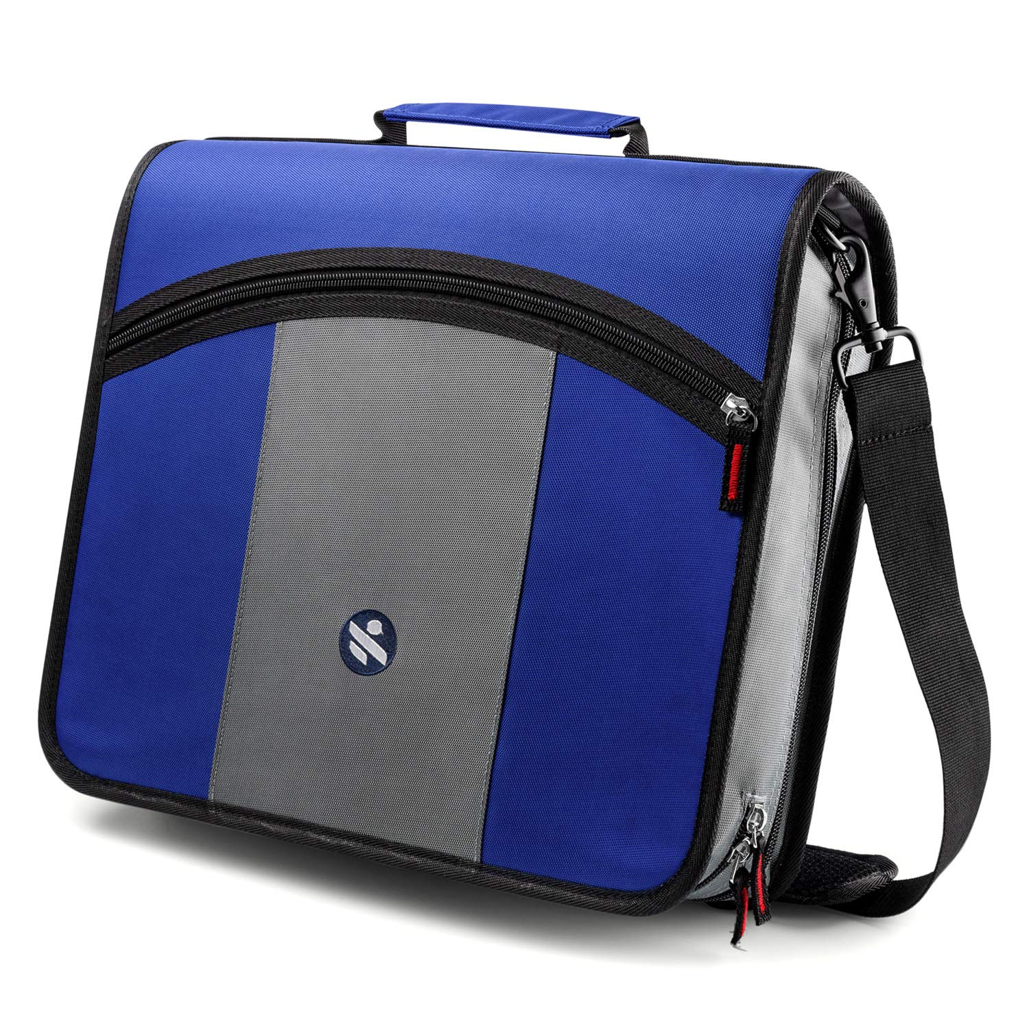 Kinbashi 3-Inch Zipper Binder, Round Ring Binder with Expanding Files, Handle and Shoulder Strap, Blue, Upgraded by Kinbashi