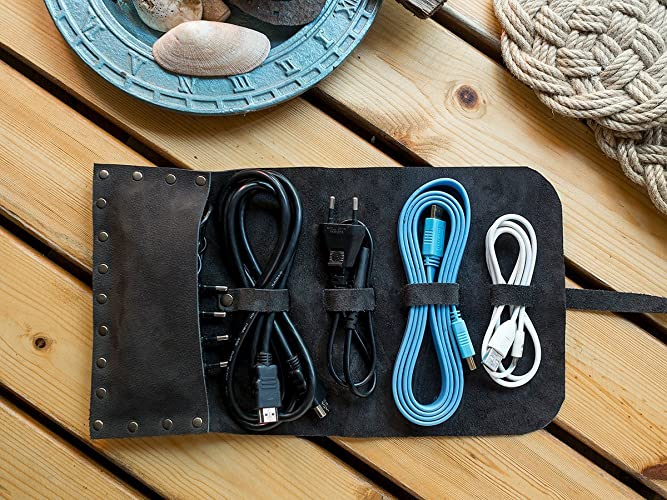1fcb30674176 Amazon.com: EXPRESS SHIPPING Personalized Handmade Leather Cord Wrap with  Pocket, Leather Cable Organizer, Cord Roll, Cord Organizer, Grain Leather,:  ...