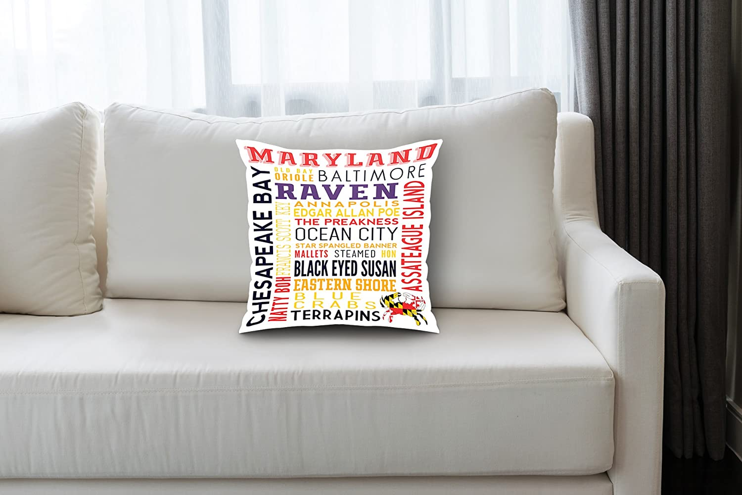 Amazon.com: Maryland - Typography (20x20 Spun Polyester ...