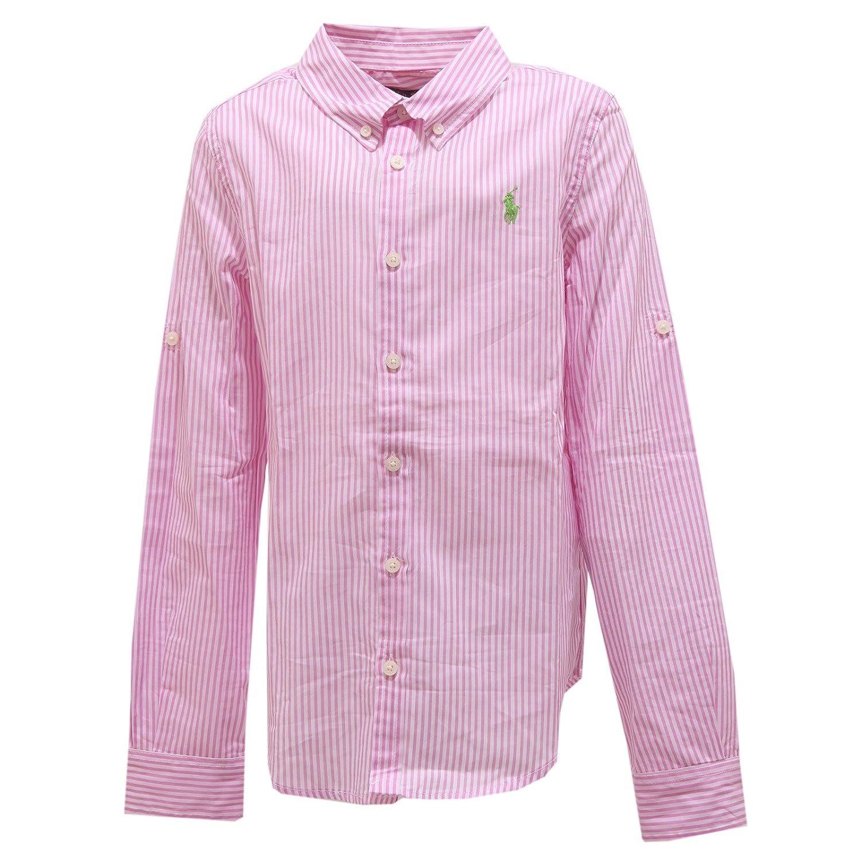 Ralph Lauren 1130T Camicia Bimba Bianco-Rosa Manica Lunga Shirt Kid