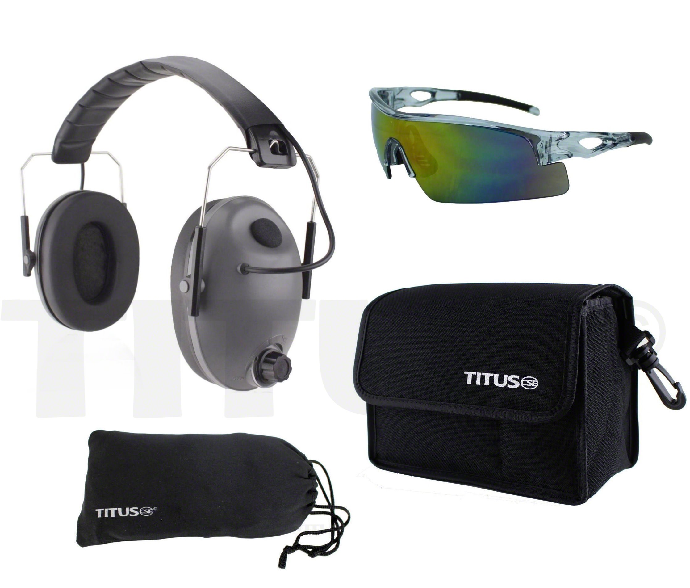 TITUS Top Combos: Safety Earmuffs & Glasses (Grey Electronic - Slim, Z87.1 Full-Spectrum All-Sport)