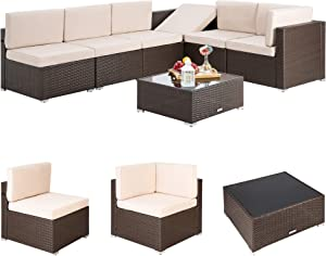 Pamapic 7 Pieces Outdoor Sectional, Wicker Patio Sectional Sofa Conversation Set, Rattan Sofa with Coffee Table and Washable Cushions Covers, Brown Rattan(Beige Cushions)…