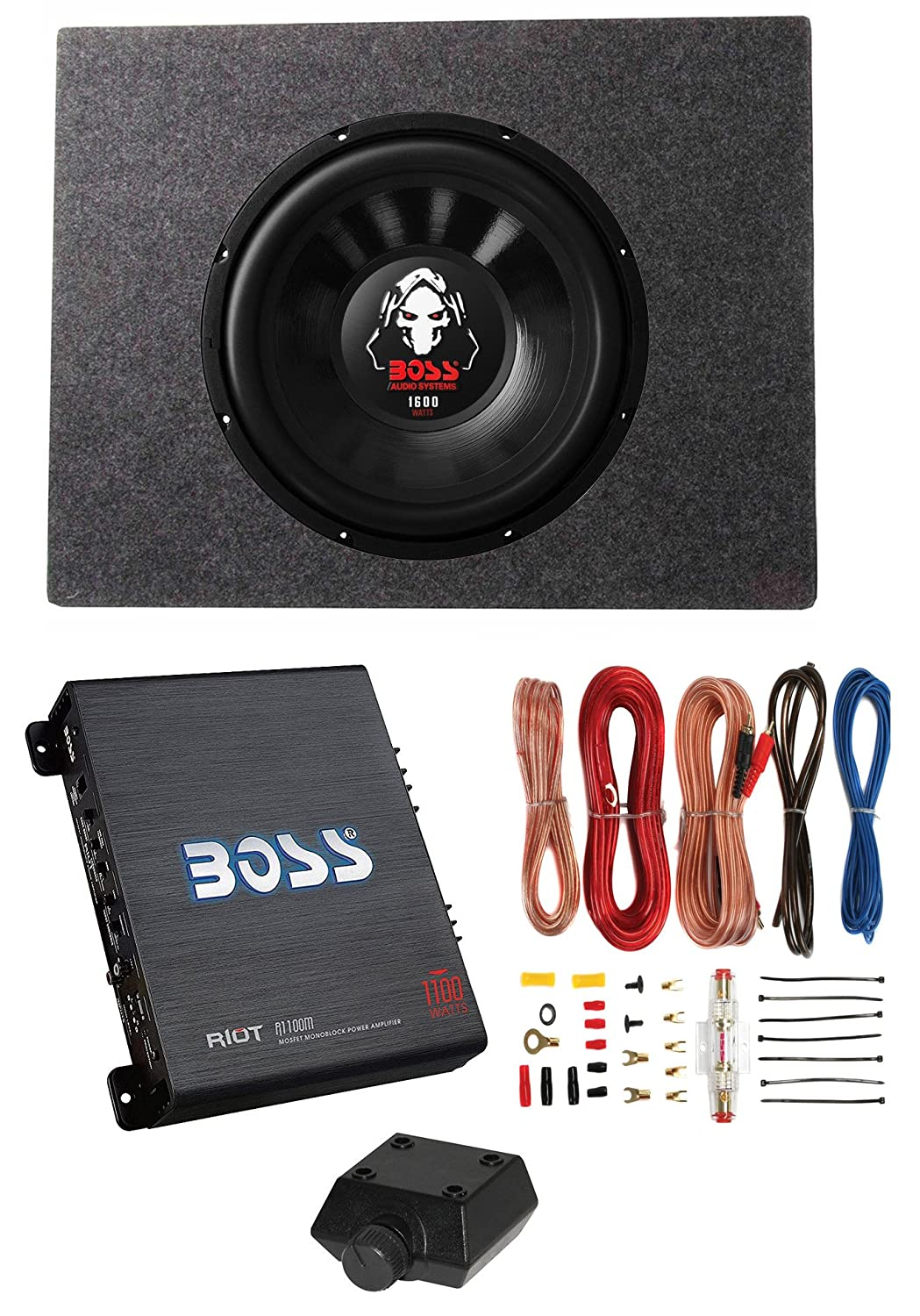 Boss Audio 12 1600w 4 Ohm Subwoofer Shallow Enclosure 8 Gauge Wiring Kit For Subs Amplifier Wire Car Electronics