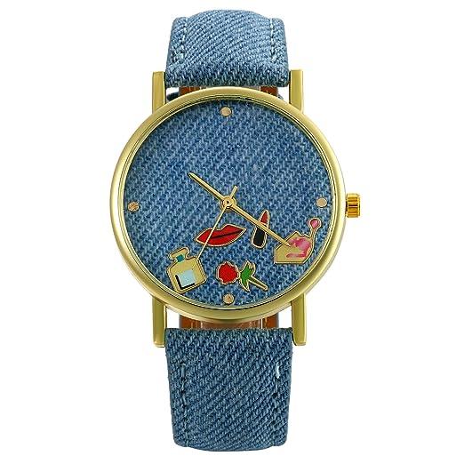 Lancardo Reloj Analógico de Cuarzo Correa de Cuero de Textura de Vaquero Dial con Dibujos de