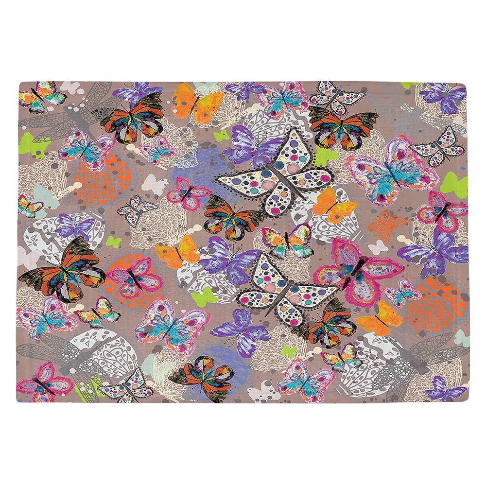 DIANOCHEキッチンPlaceマットby Artist Julie Ansbro – Butterfliesブラウン Set of 2 Placemats PM-JulieAnsbroButterBrown1 Set of 2 Placemats  B01N0APPO6
