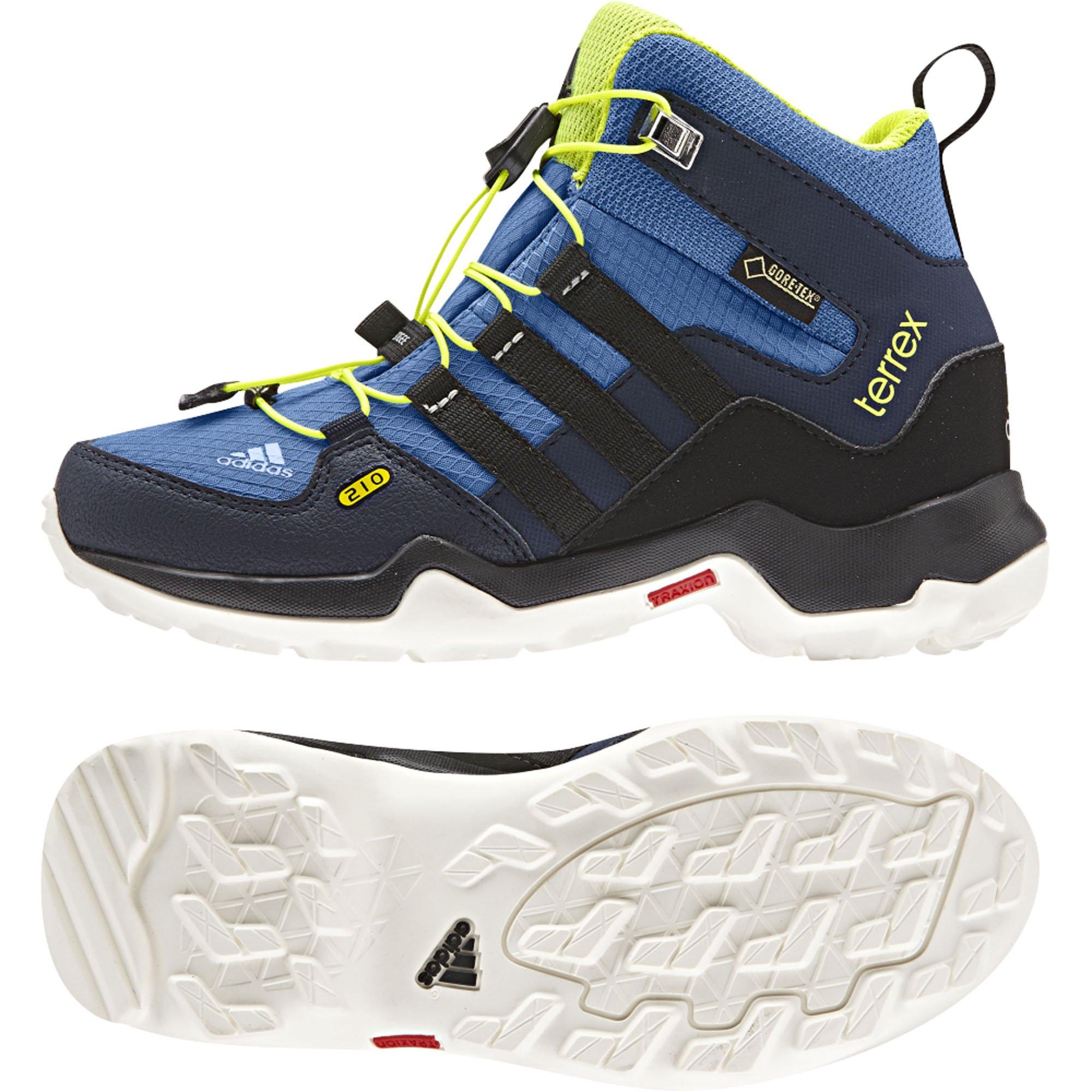 adidas Children's Terrex Mid GORE-TEX K Hiking Shoe,Super Blue/Black/Solar Yello by adidas
