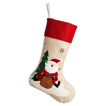 ipegtop 18 burlap christmas stocking large craft socks traditional santa stockings snowflake decorations xmas - Amazon Christmas Stockings