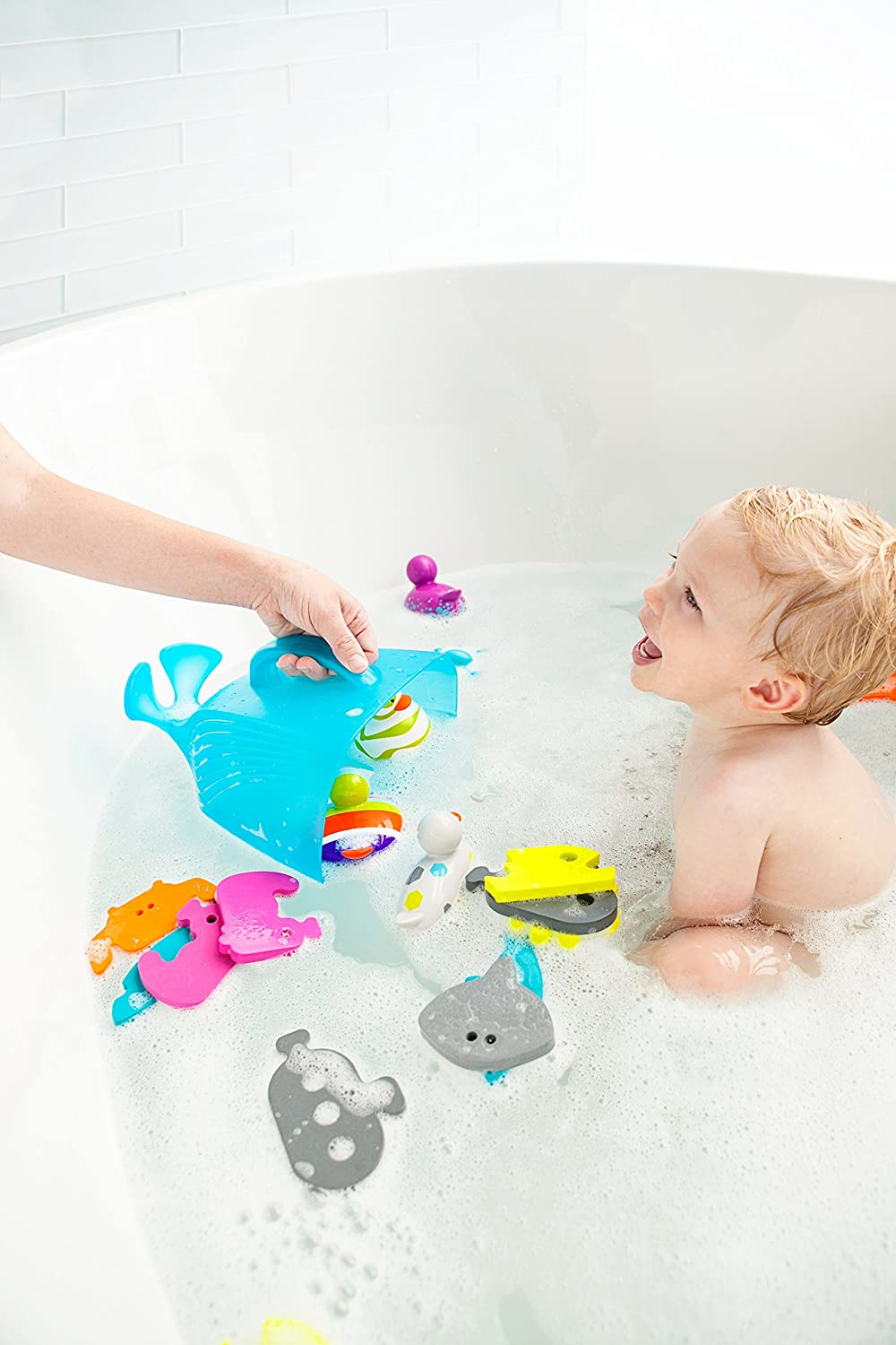 Boon Whale Pod Drain and Storage Bath Toy Scoop,Blue B407
