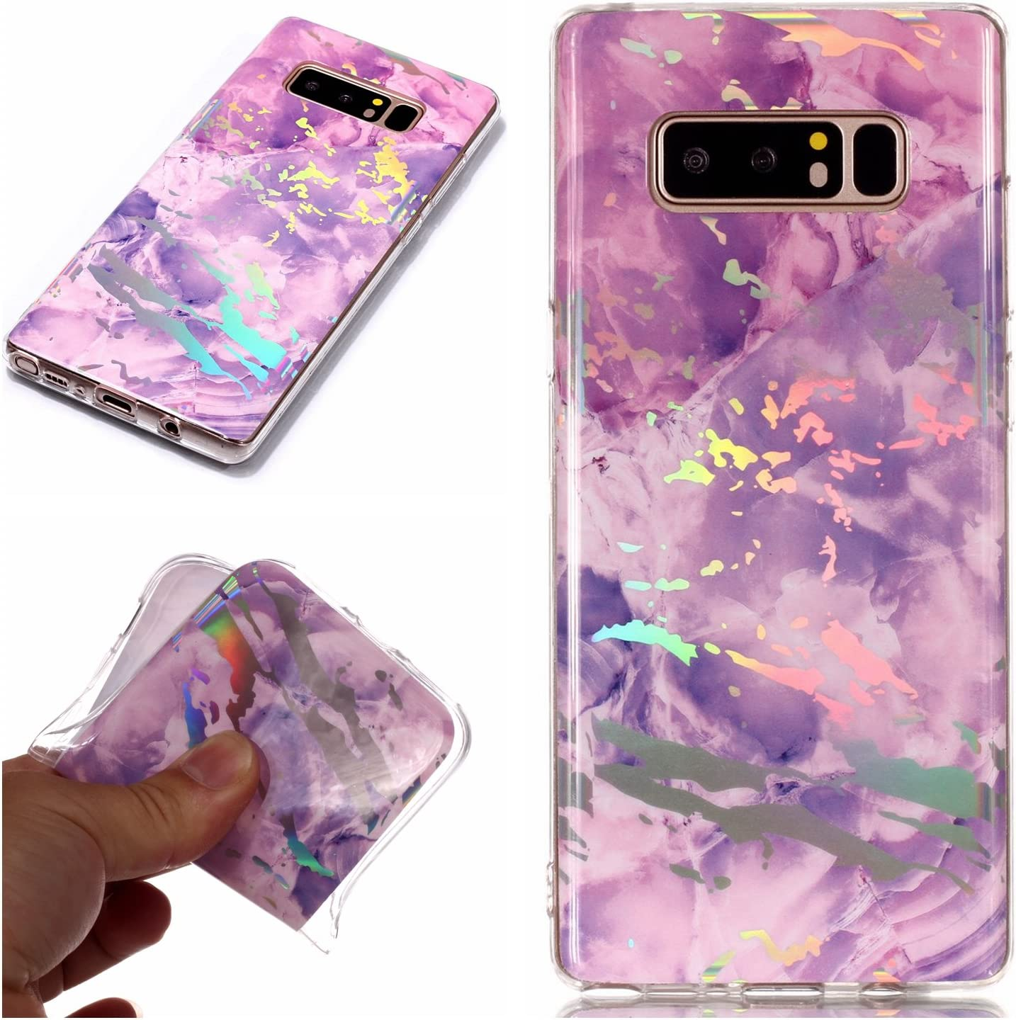 White and Pink for Samsung Galaxy Note 8 Glitter Case Marble and Screen Protector,Clear Soft Silicone Phone Case Thin Slim Gel TPU Bumper Shell,QFFUN Shockproof Anti-Scratch Protective Back Cover