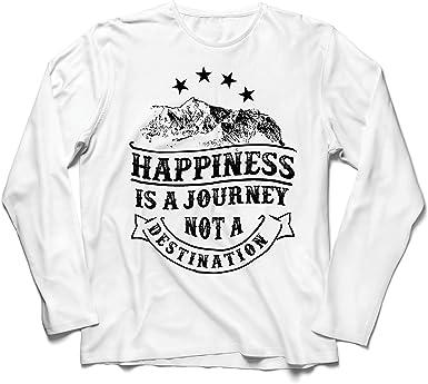 lepni.me Camiseta de Manga Larga para Hombre Sé Feliz y ...