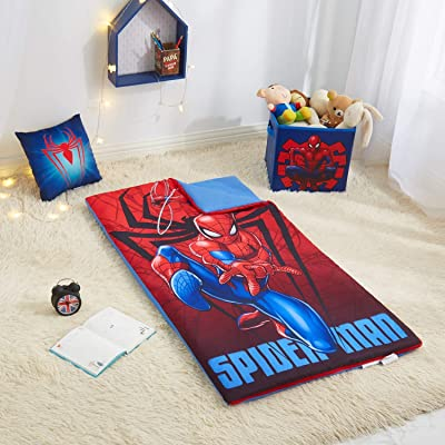 Spider Man Kids Sleeping Bag with Bonus Pillow and Storage Cube: Home & Kitchen
