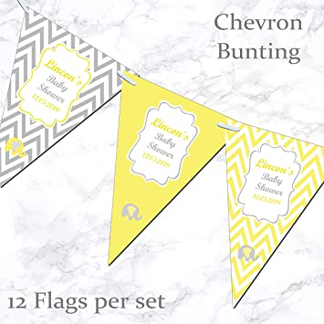 Imagen deBaby Shower Personalizado Bandera Guirnalda Banderas Incl. Cinta Chevron - Amarillo