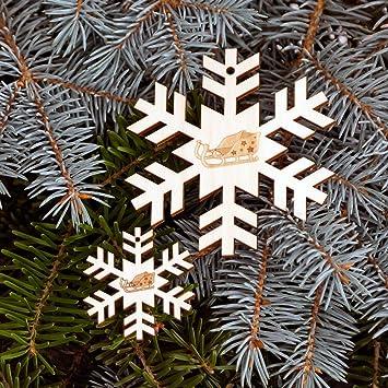 Schon Baumschmuck 2er Sets Motiv Schneeflocken Baumbehang   Deko Aus Holz Für  Weihnachten, Weihnachtsschmuck: