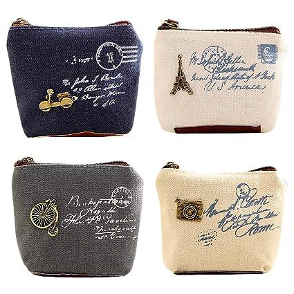 Pack de 4 Mini Monedero Pequeño Cartera Monedero de La Moneda Bolsa de Tela Lino para Moneda Efectivo Tarjeta Llaves Hombre Mujeres Niños