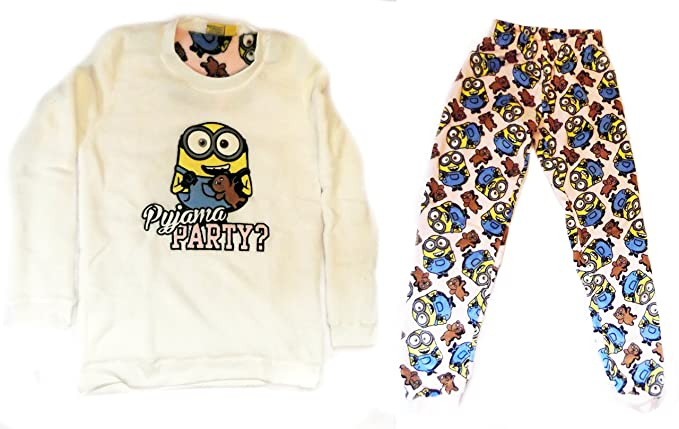 Love to Lounge Ladies Minions Pijama Pijama Party Acogedor Forro Polar Bob con Oso Amarillo Minions