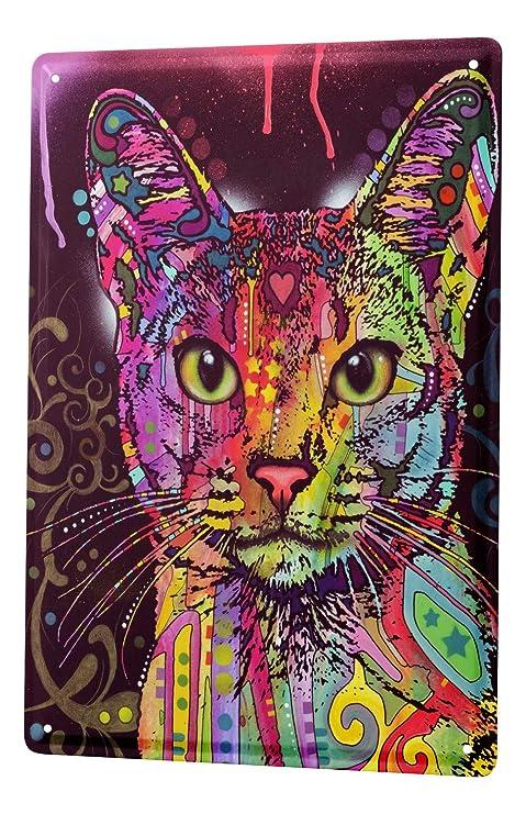 Cartel Letrero de Chapa Práctica Veterinaria Gato de colores
