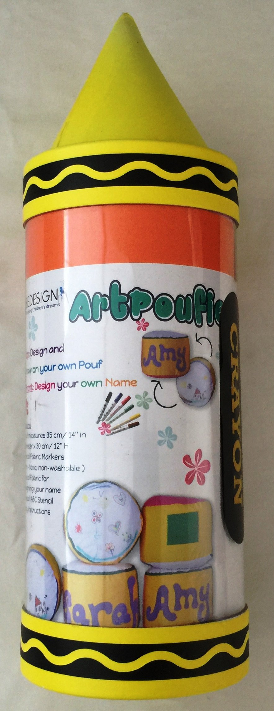 Bedesign Studio ArtPoufie - Craft My First personalize pouf Kit (Yellow/Blue with Green)