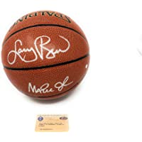 $349 » Larry Bird Magic Johnson Lakers Boston Celtics Dual Signed Autograph ZIO Basketball Steiner Sports Certified