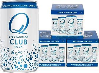 Q Drinks, Q Club, Spectacular Club Soda, Premium Mixer, 7.5 Ounce Slim Can (Pack of 12)
