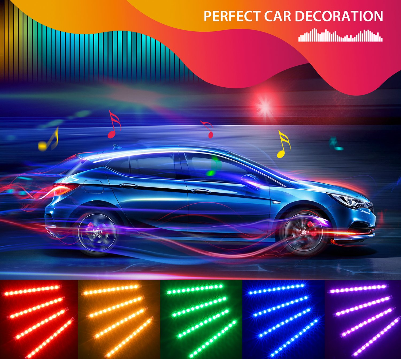 Unifilar Car LED Strip Light, Minger 4pcs 72 LED APP Controller Car Interior Lights, Waterproof Multicolor Music Under Dash Lighting Kits for iPhone Android Smart Phone, Car Charger Included, DC 12V by MINGER (Image #7)