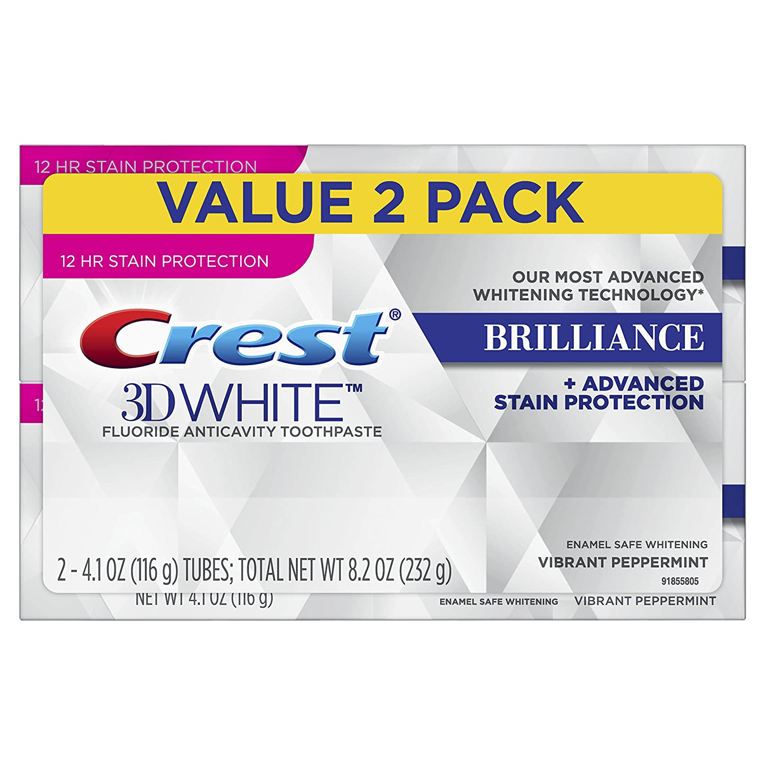 Crest 3D White Brilliance Vibrant Peppermint Toothpaste, Pack of 2