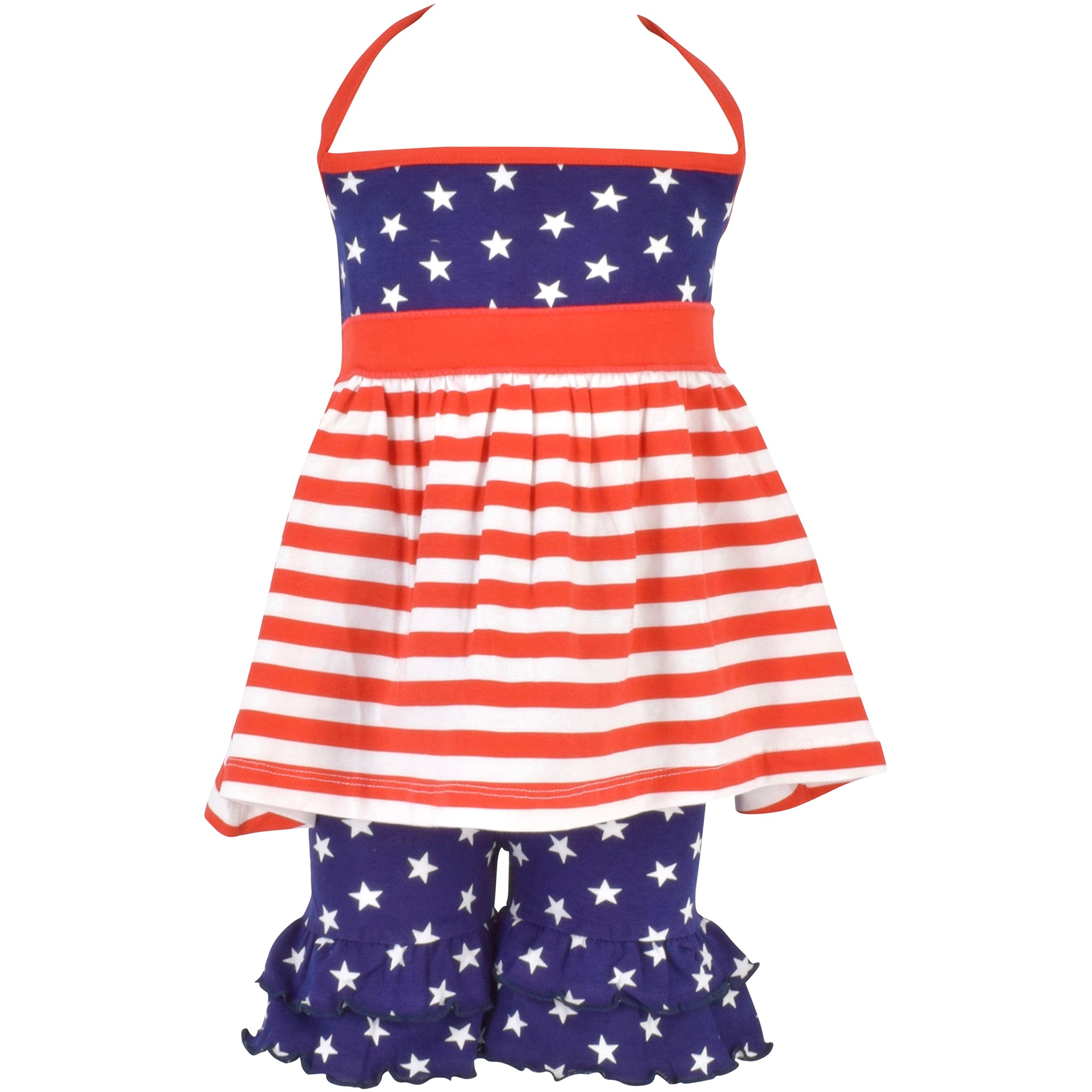 Unique Baby Girls Patriotic 4th of July Halter Top Summer Outfit (8, Red)