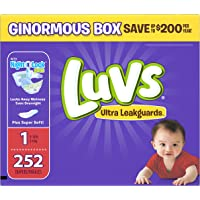 Luvs Ultra Leakguards Newborn nappies Size 1, 252 Count