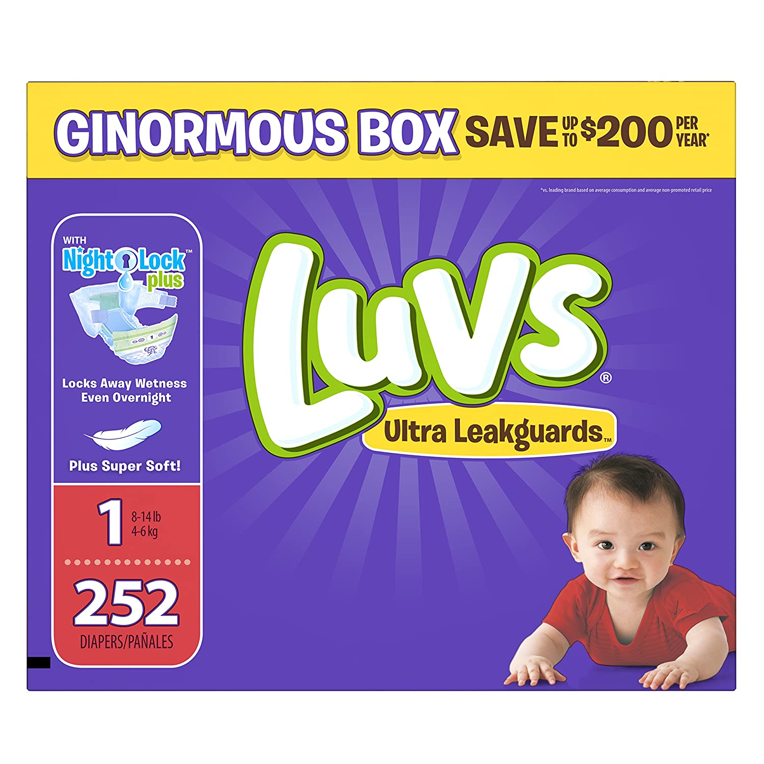 Luvs Ultra Leakguards Disposable Baby Diapers Newborn Size 1, 252 Count 10037000976803