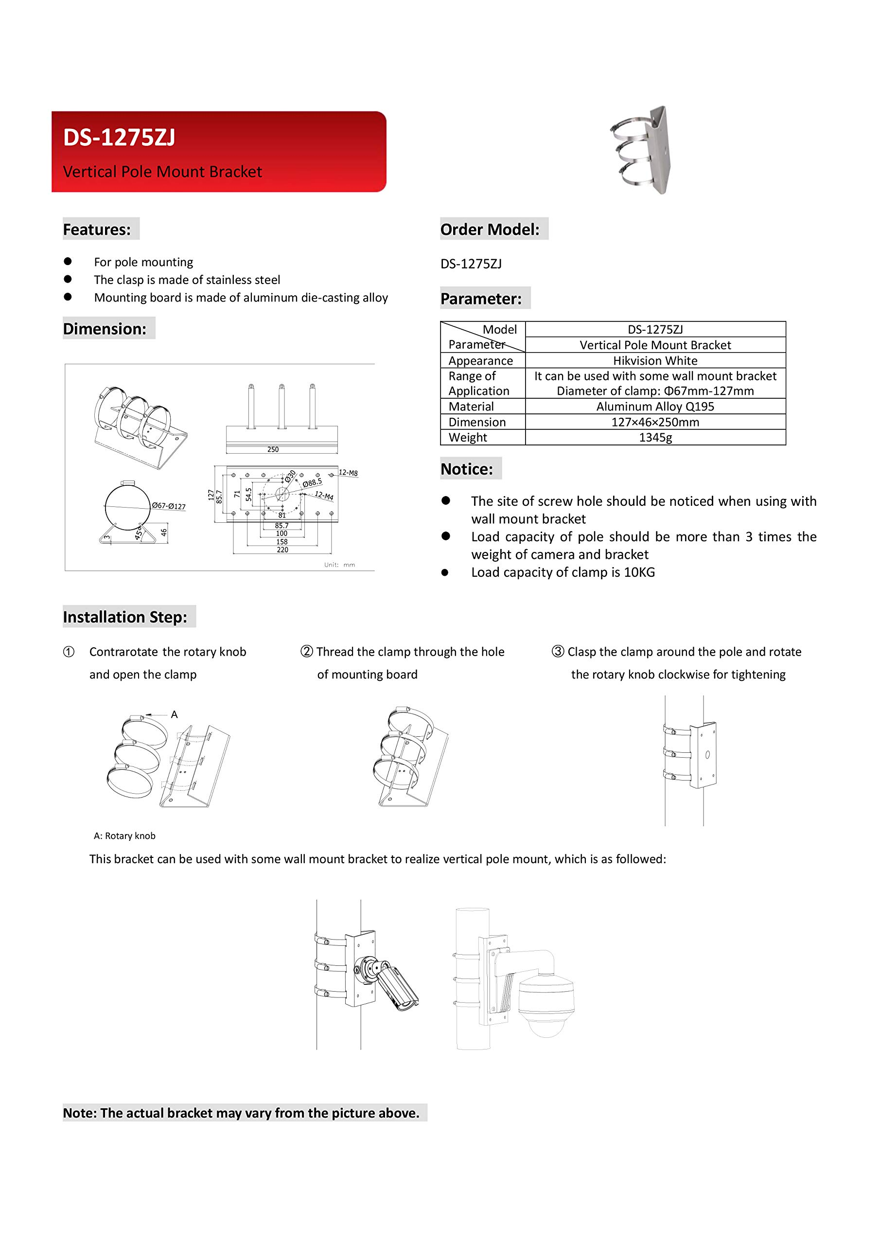 PM DS-1275ZJ Universal Pole Mount Adapter for Most Hikvision Wall Mounts and Cameras - 4 Pack by KENUCO (Image #6)