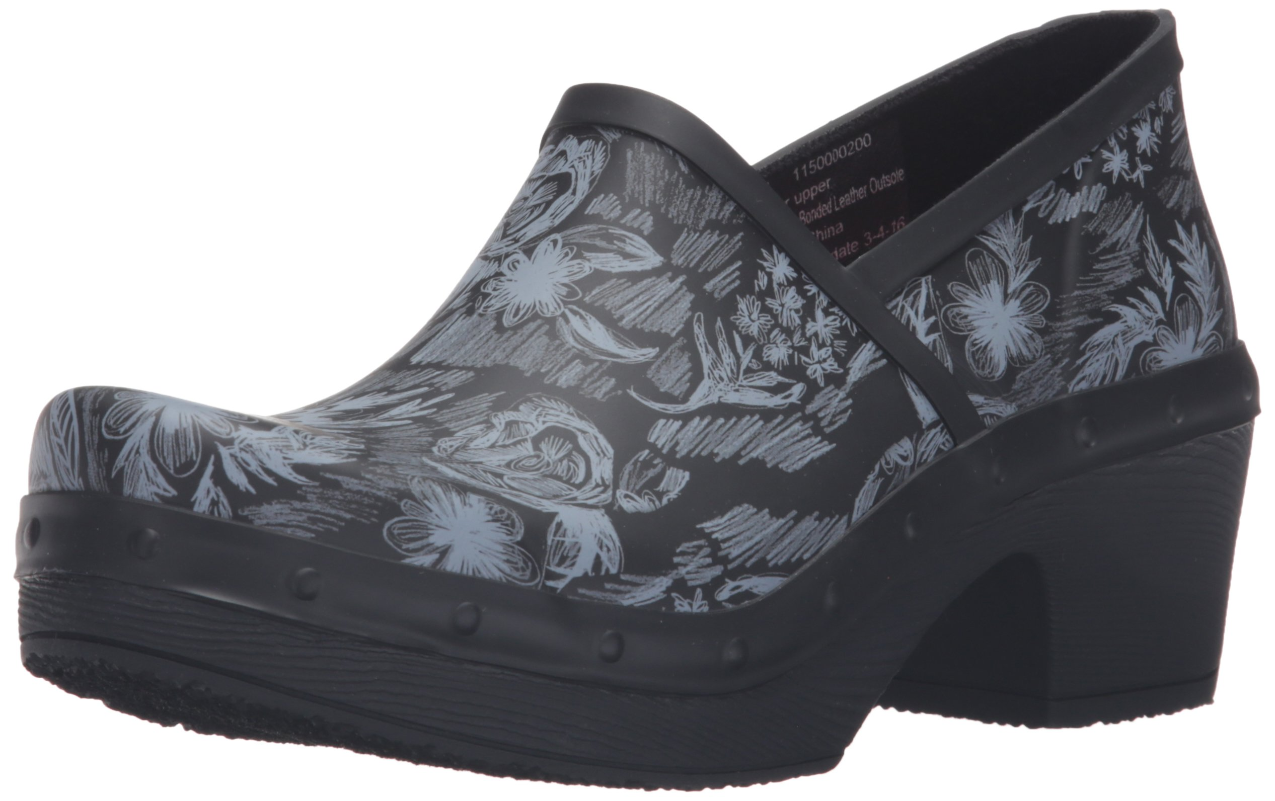 Dansko Women's Richelle Rain Shoe, Black/White Floral, 39 EU/8.5-9 M US