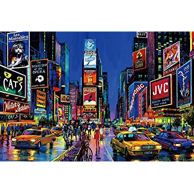 HOOLRO Jigsaw Puzzle 1000 Pieces for Adults, Landscape Building Pattern Adult Children Puzzle Intellective Educational Toy Gift (New York): Toys & Games