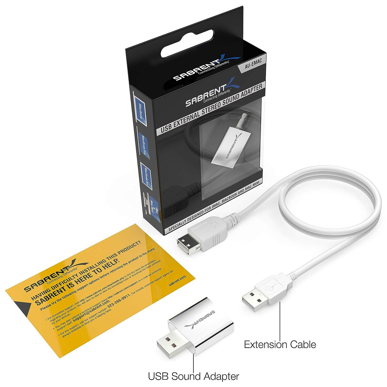 AU-EMAC USB Kabel Silber Inkl Plug and Play Sabrent USB Externe Soundkarte Aluminum Stereo Sound Adapter f/ür Windows und Mac Keine Treiber erforderlich.