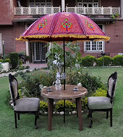 Lalhaveli Decorative Heavy Floral Embroidery Deisgn Cotton Sun Garden  Umbrella 52 X 72 Inches