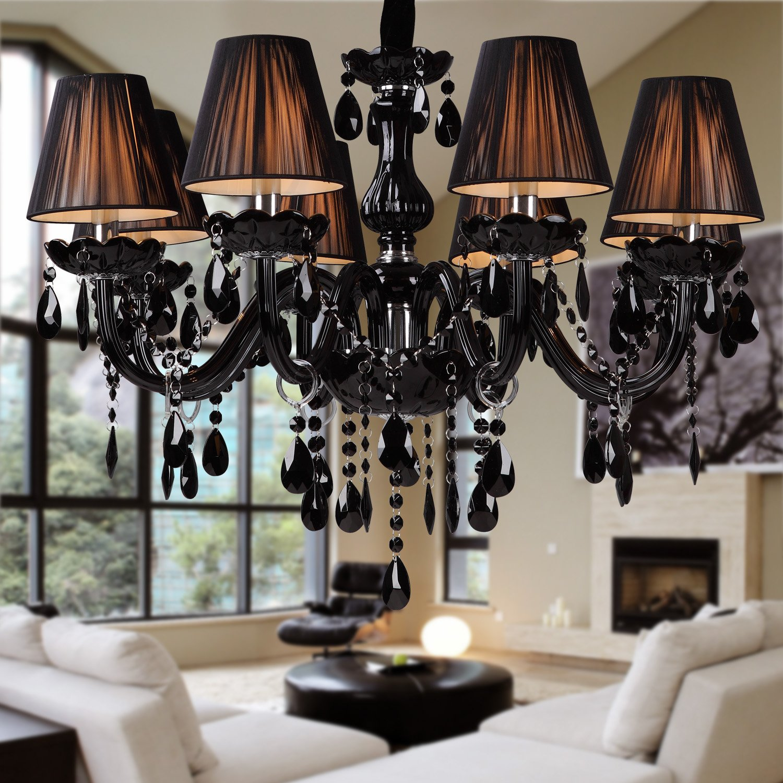 Lightinthebox Chandelier Luxury Modern Black Crystal Living 8 Lights Home Ceiling Light Fixture Pendant Light for Kitchen, Dining Room, Living Room