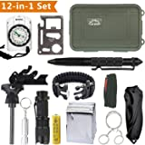 Kit di Sopravvivenza Multiuso con 12 Accessori Inclusi sopravvivenza bracciali,Survival Card,Tactical Pen,TORCIA LED,Selce Magnesio
