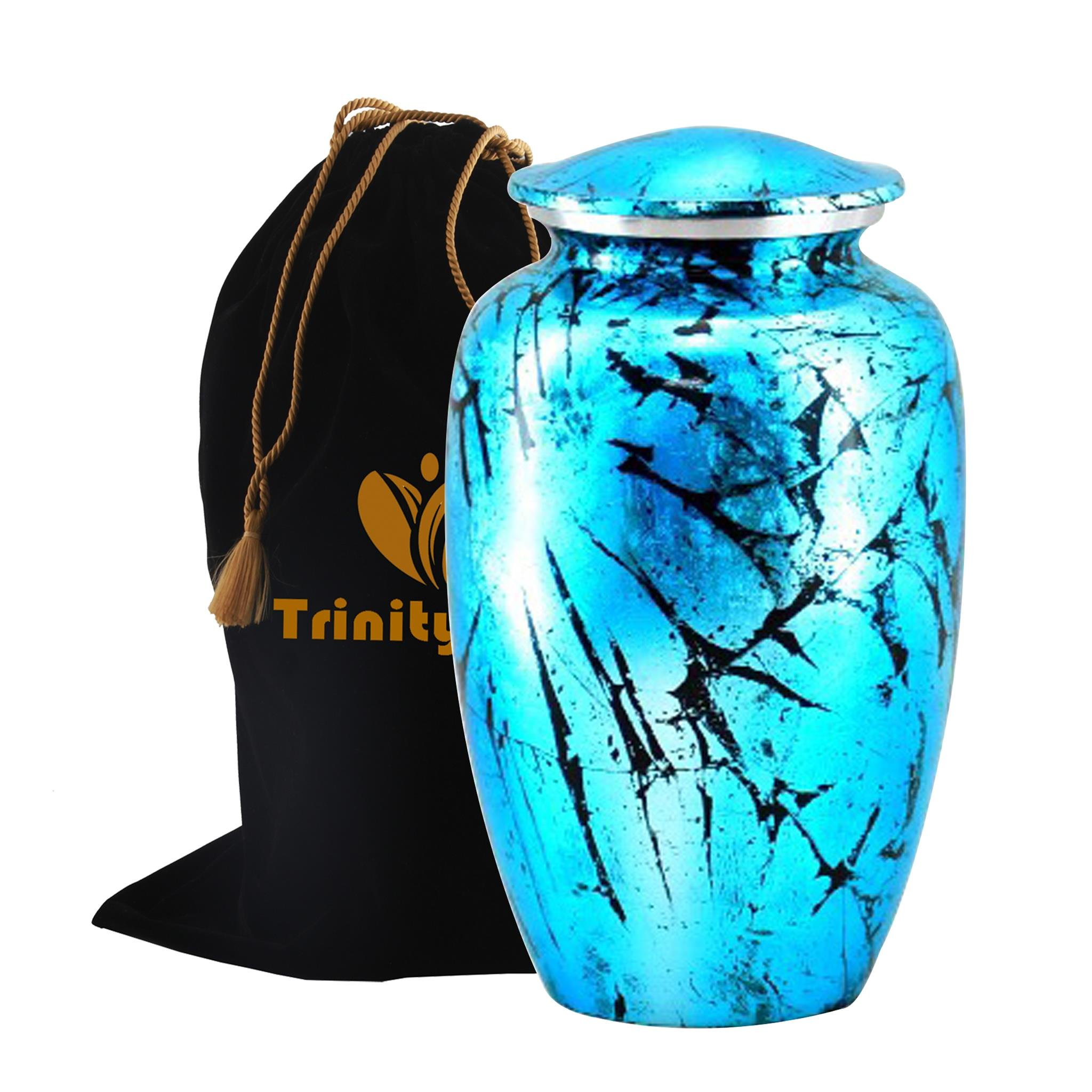 Shimmering Aqua Cremation Urn - Beautifully Handcrafted Adult Funeral Urn - Solid Metal Funeral Urn - Affordable Urn for Human Ashes with Free Velvet Bag