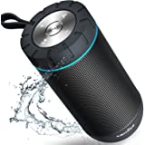 COMISO Waterproof Bluetooth Speaker with 24 Hours Playtime,360 Degree Superior Sound with Dual 6W Drivers Dual Passive Radiators wireless Portable Speaker for Outdoor - Grey
