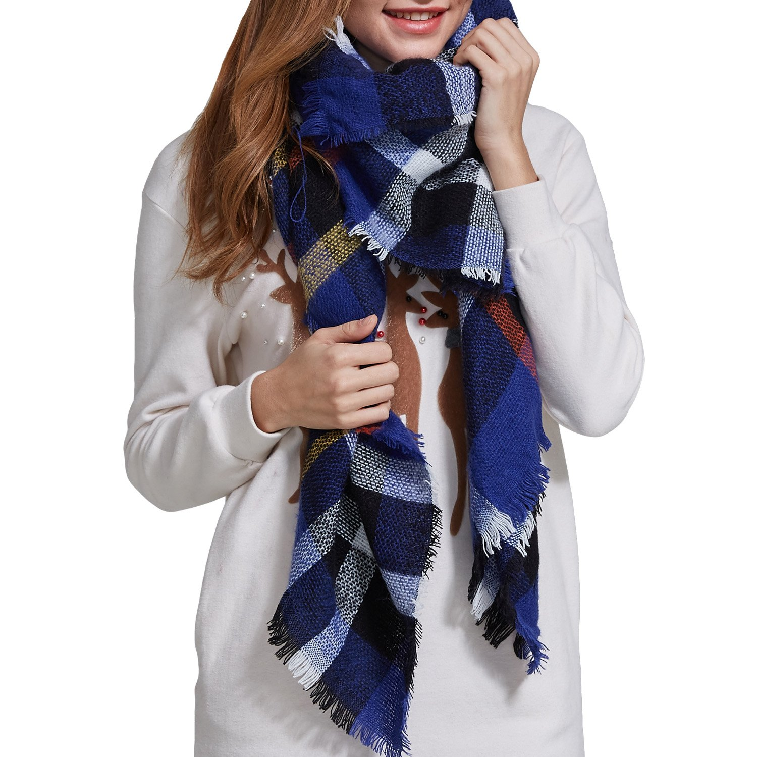 HEYMA Plaid Blanket Scarf Tartan Stylish Scraf For Women Winter Scarf Shawl