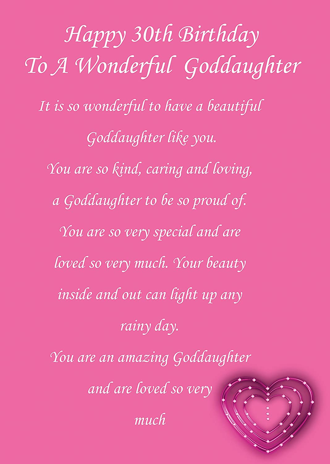 Goddaughter 30th Birthday Card Amazoncouk Office Products – Goddaughter Birthday Cards