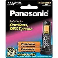 Panasonic DECT Phone Rechargeable AAA Batteries, 2-Pack (BK-4LDAW/2BT)