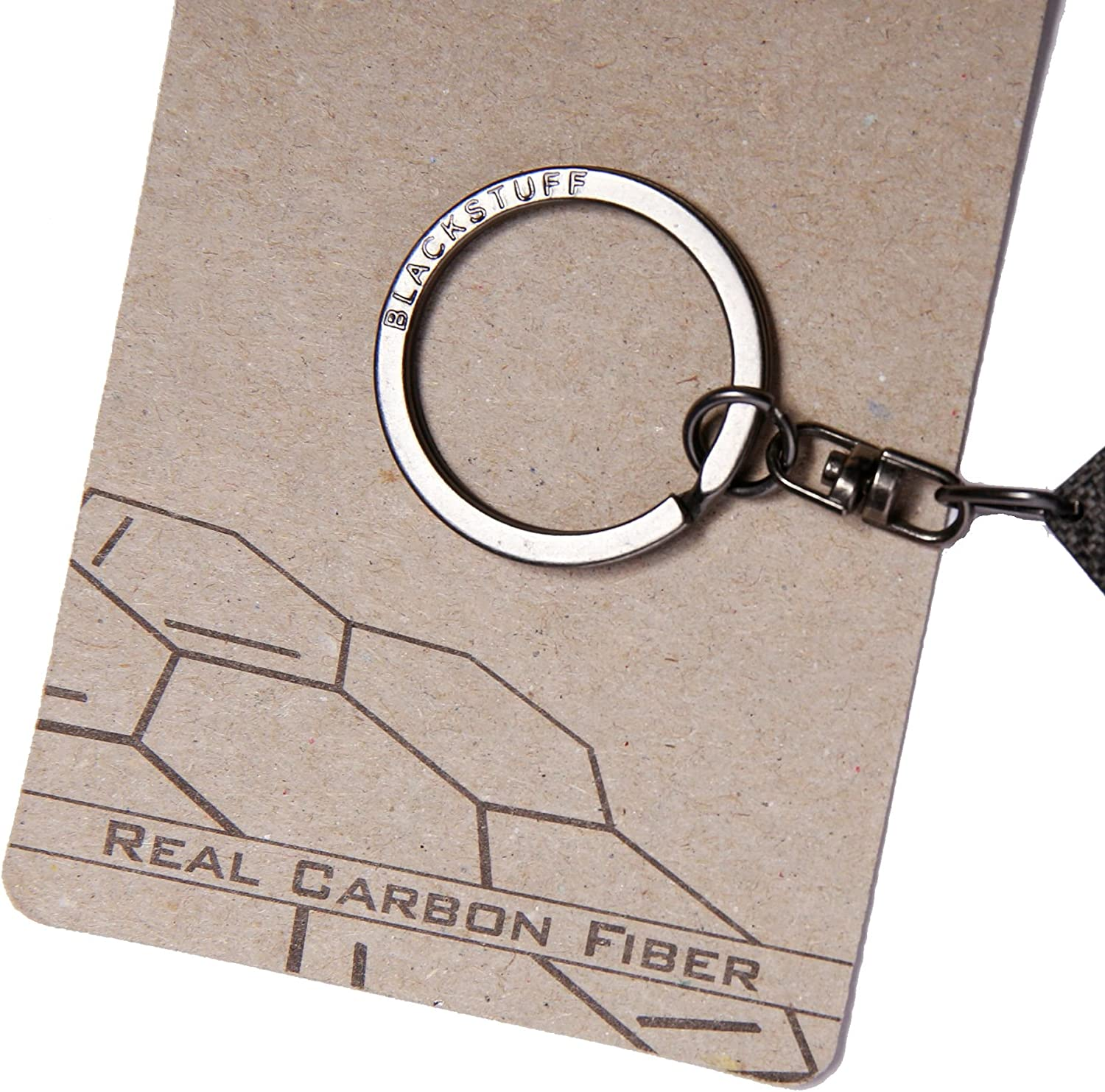 BlackStuff Carbon Fiber Keychain Keyring Ring Holder Compatible with F12 F13 M6 6 Series 640 650 BS-154
