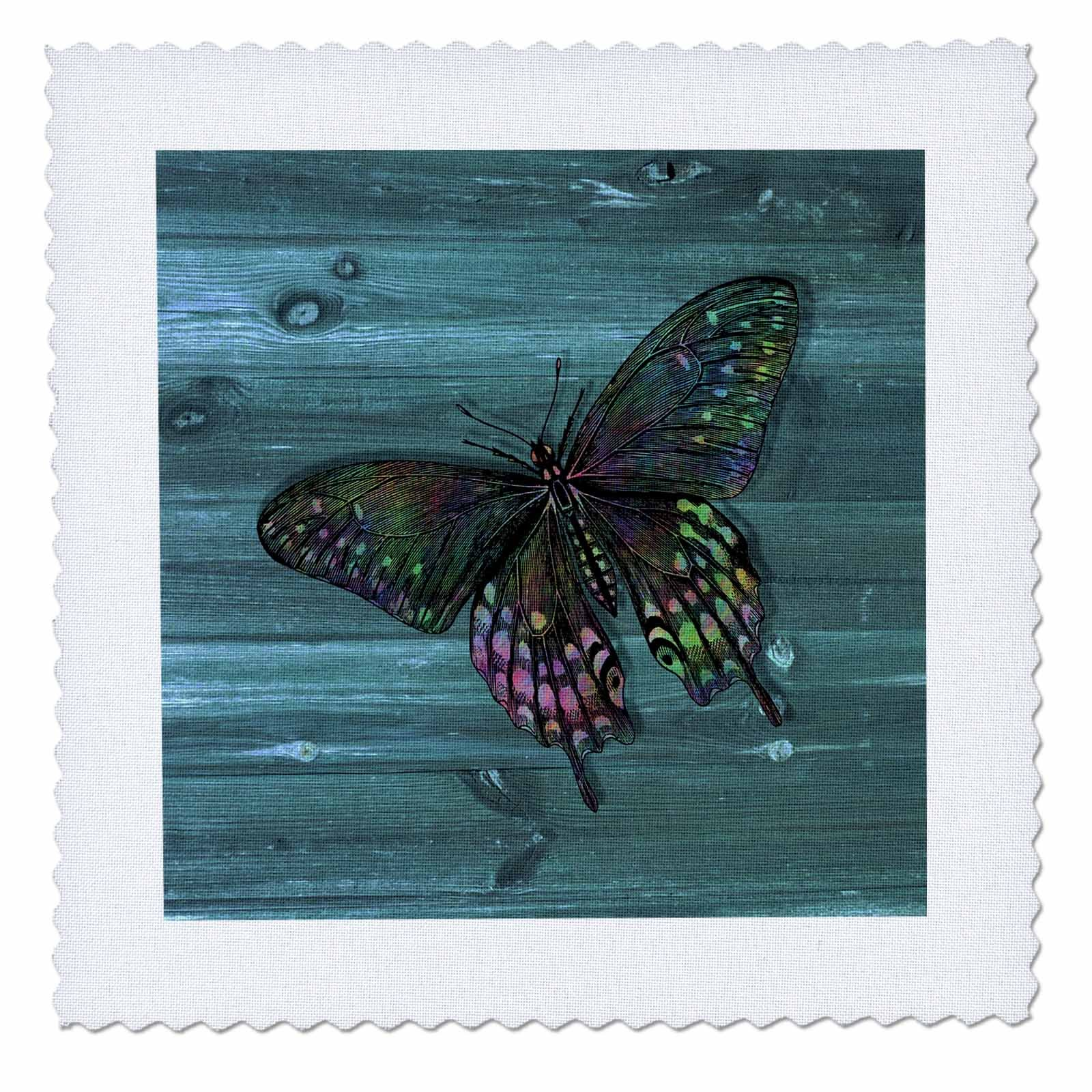 3dRose Russ Billington Designs - Pretty Butterfly Resting on Blue Weatherboard- not real wood - 16x16 inch quilt square (qs_261714_6)