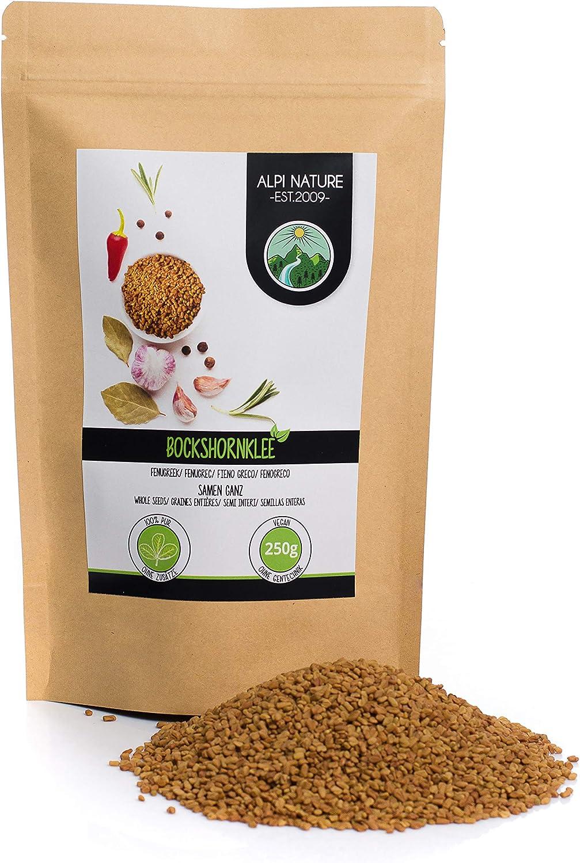 Semillas de fenogreco (250g), 100% naturales, veganas y sin aditivos, fenogreco en granos