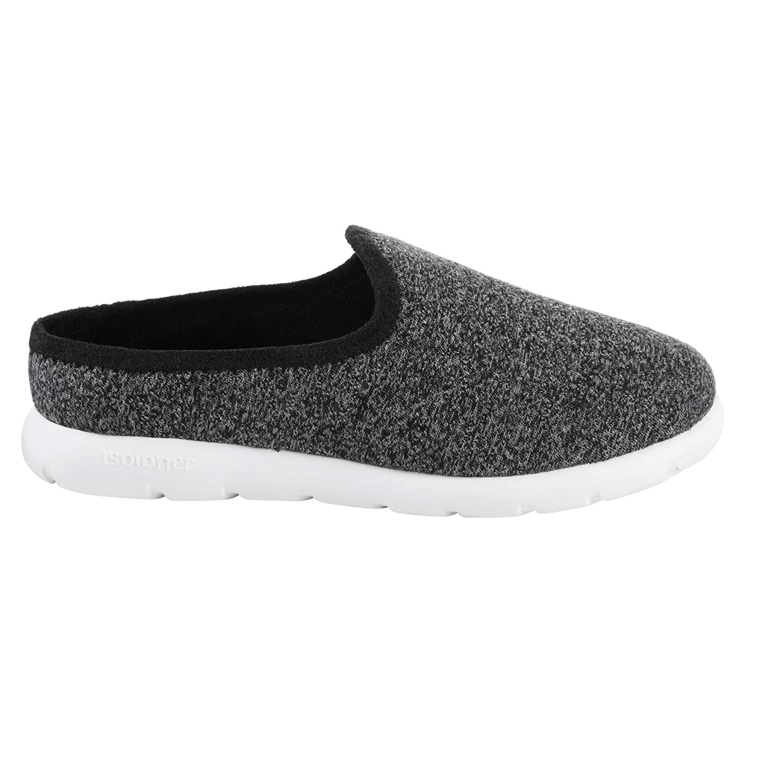 Black Heathered Isotoner Zenz Women's Sport Mesh Hoodback Slipper
