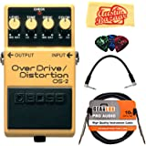 Boss OS-2 OverDrive/Distortion Bundle with Instrument Cable, Patch Cable, Picks, and Austin Bazaar Polishing Cloth