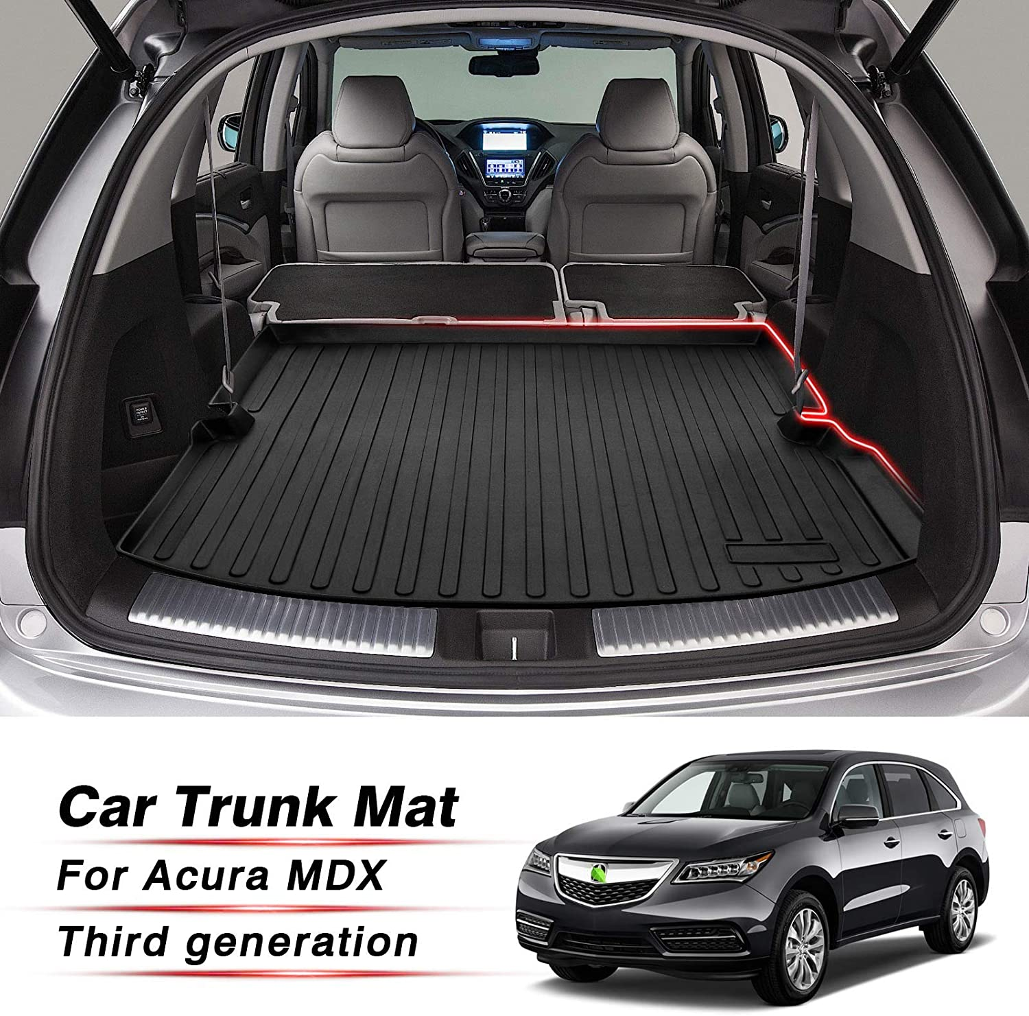 T TGBROS All Weather Cargo Trunk Liner Floor Mat for 2014-2020 Acura MDX Trunk Liner Tray Heavy Duty Cargo Mat